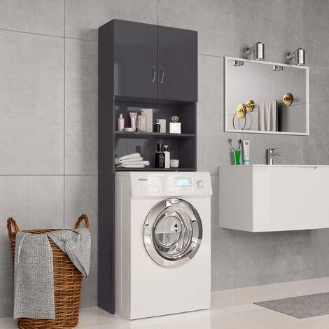 Washing Machine Cabinet High Gloss Grey 64x25.5x190 cm Chipboard