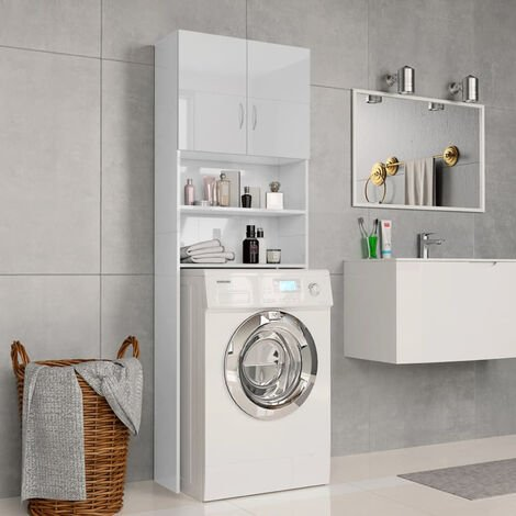 Washing Machine Cabinet High Gloss White 64x25.5x190 cm Chipboard