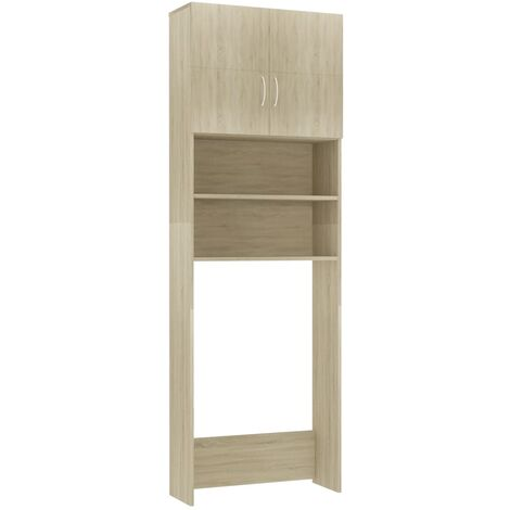 Washing Machine Cabinet Sonoma Oak 64x25.5x190 cm Chipboard