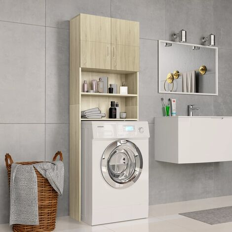 Washing Machine Cabinet Sonoma Oak 64x25.5x190 cm Chipboard - Brown