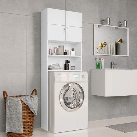 Washing Machine Cabinet White 64x25.5x190 cm Chipboard - White