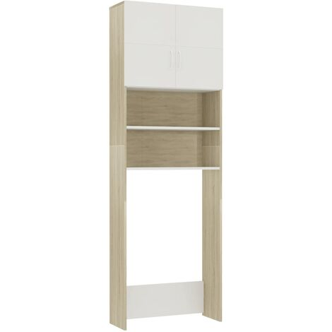 Washing Machine Cabinet White and Sonoma Oak 64x25.5x190 cm