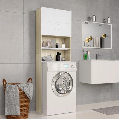 Washing Machine Cabinet White and Sonoma Oak 64x25.5x190 cm