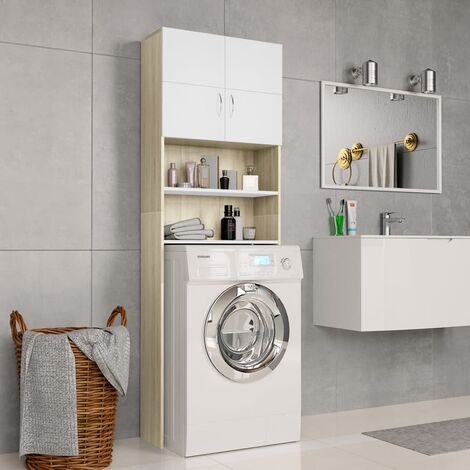 Washing Machine Cabinet White and Sonoma Oak 64x25.5x190 cm - Beige