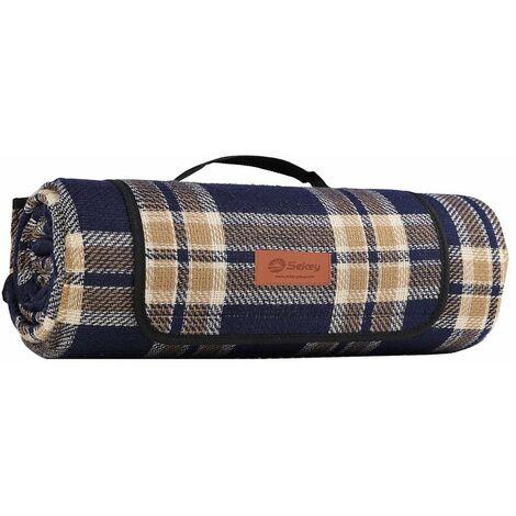 Acryl 200 x 200 cm kariert XL Picknickdecke wasserdicht blaues Tartan Muster mit Tragegriff