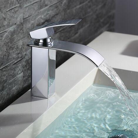 Wasserhahn Bad Armatur Wasserfall Mischbatterie Bad Einhebelmischer Badarmatur Waschbecken Waschtischbatterie für Badezimmer Waschtisch Armatur