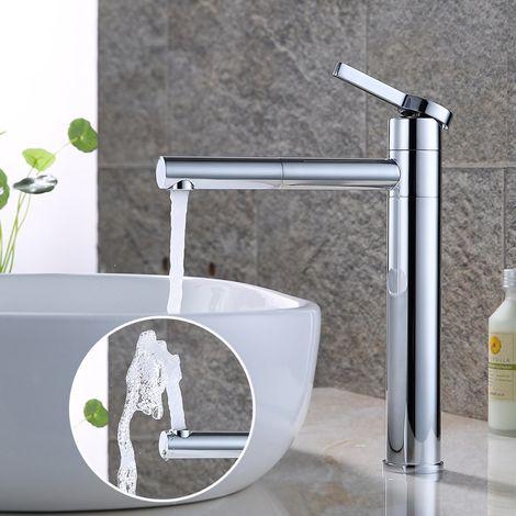 Wasserhahn Bad Hoch, Doppelt 360° drehbar Waschtischarmatur Messing Mischbatterie Bad für Waschbecken Badarmatur Chrom Einhebelmischbatterie Waschtisch Armatur für Bad