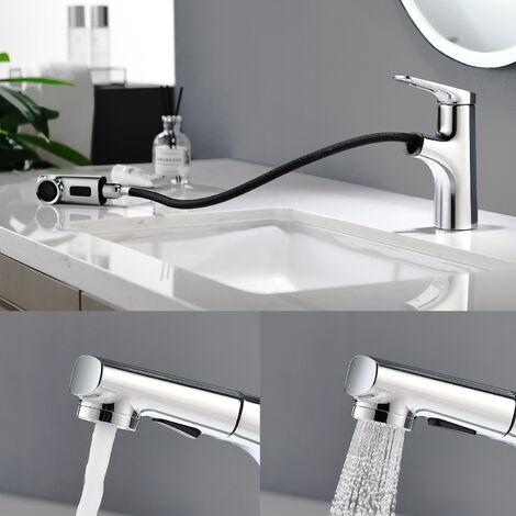Wasserhahn Bad mit ausziehbarem Brause Waschtisch Armatur Bad Wasserhahn Mischbatterie Waschbeken Einhebelmischer Waschtischarmatur