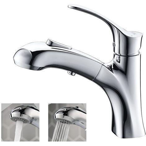 Wasserhahn Bad Waschbecken Armatur mit herausziehbarer Brause und eine Pause Taste Mischbatterie Waschtischarmatur