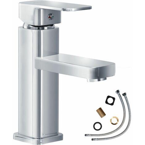 Wasserhahn eckig - Badarmatur, Waschtischarmatur, Mischbatterie - gris