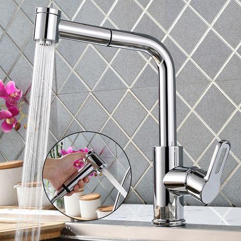 Wasserhahn Küche 360° drehbar Küchenarmatur ausziehbar Spültischarmatur Spüle Einhebelmischer Mischbatterie Küche Spülbecken Armatur Küche