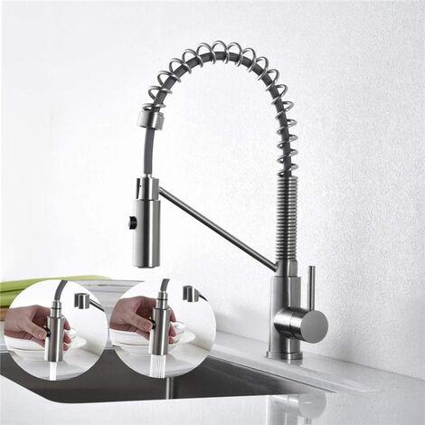Wasserhahn Küche 360° Drehbar Küchenarmatur Mischbatterie Küche Armatur Küche Ausziehbar Spiralfederarmatur Gebürsteter Nickel Geschirrbrause Spültischarmatur