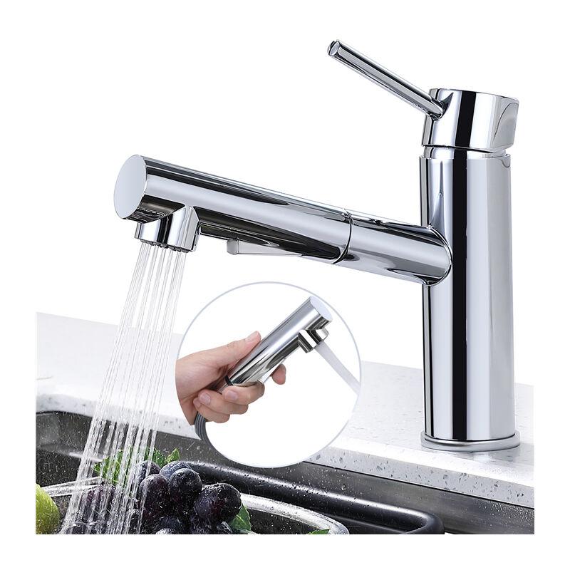 Wasserhahn Küche ausziehbar Küchenarmatur Schwenkbar Armatur Küche  Mischbatterie Küche aus Messing Spültischarmatur für Küchenspülen