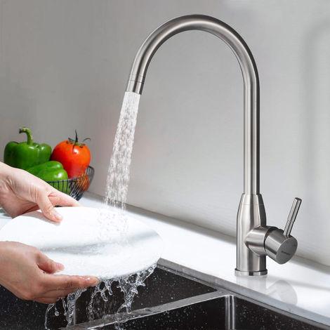 Wasserhahn Küche Edelstahl, WOOHSE Küchenarmatur mit 2 Strahlarten 360° Drehbar Armatur Küche Hochdruck Einhebelmischer Mischbatterie Spültischarmatur Spültisch Küchenhahn Spüle, matt gebürstet