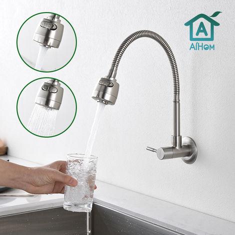 Wasserhahn Küche Kaltwasserhahn Küchenarmatur 304 Edelstahl 360 ° drehbarer Spültischarmatur Armatur Küche mit flexiblem Hals Wandmontage