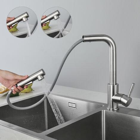"""Wasserhahn Küche Mischbatterie""""L-Form"""" Küchenarmatur Spültischarmatur 360°Drehbar aus Edelstahl mit ABS Bubbler"""