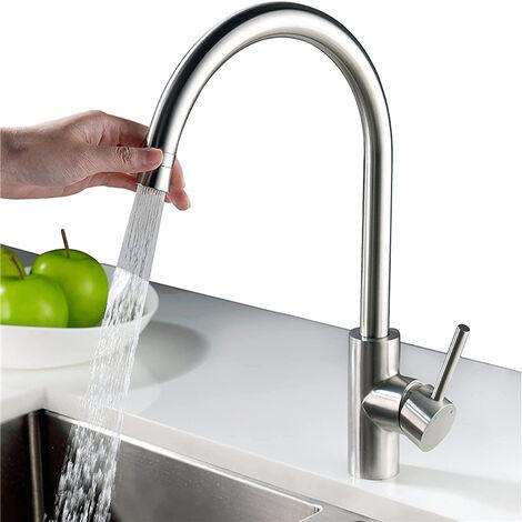 Wasserhahn Küche mit 2 Strahlarten 360° drehbar Armatur Küche Edelstahl Küchenarmatur Spültischarmatur Mischbatterie Küche Einhebelmischer Spülbeckenarmatur matt gebürstet