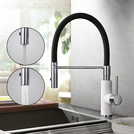 Wasserhahn Küche mit herausziehbarem Küchenarmatur Spültischarmatur mit 2-Strahlen Mischbatterie Küche Armatur Wasserkran spültischbatterie Spiralfederarmatur Schwarz