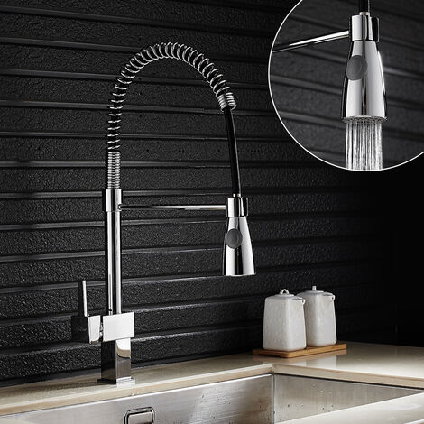 Wasserhahn Küchenarmatur umstellbar Auslaufstrahl, Spiralfederarmatur Einhebel Spültischarmatur Mischbatterie