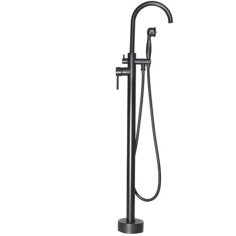 Wasserhahn Mischbatterie Stehende Säule Duschkopf Duschkugel Messing Badewanne Badezimmer Schwarz 1/2 Zoll Hasaki