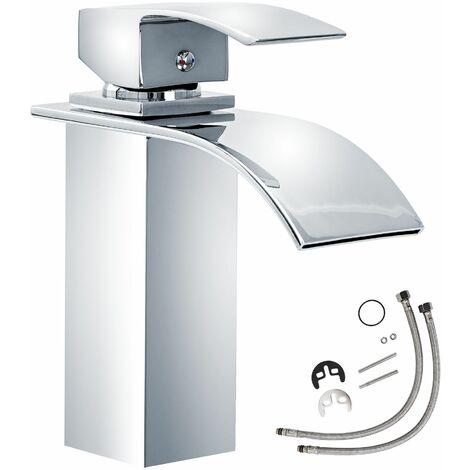Wasserhahn Wasserfall gebogener Auslauf - Badarmatur, Waschtischarmatur, Mischbatterie - grau