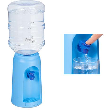 Wasserspender mit Tank & Zapfhahn, Tisch Trinkwasserspender Büro, 4,5 L, Kunststoff, H x D: 47,5 x 17 cm, blau