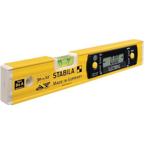 Wasserwaage TECH 80 A electronic 30cm Alu gelb ± 0,5mm/m STABILA