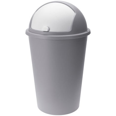 Waste Bin 50L Flip Swing Push Can Rubbish Kitchen Home Plastic Lid Dustbin Trash taupe - taupe - taupe (de)