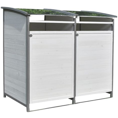 Waste bin box - single box + add-on box white/grey