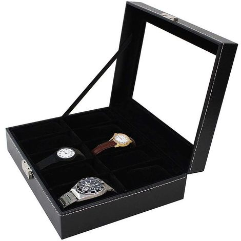 Watch and Bracelet Storage Case, Watch Box, 10 watches and display, Black, Size: 25 x 20 x 8 cm