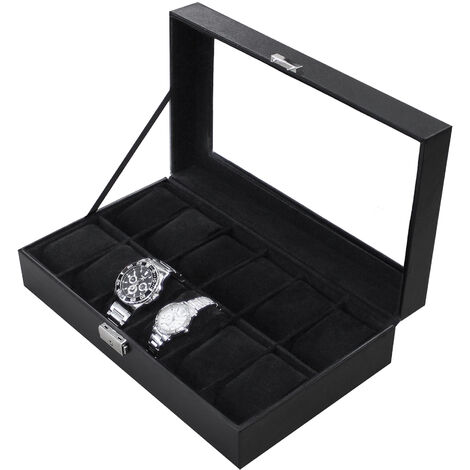 Watch and Bracelet Storage Case, Watch Box, Black, 12 watches and display, Size: 30 x 20 x 8 cm