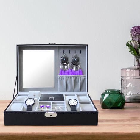 Watch Jewellery Display Case, Jewellery Watch Box , 8 watches, jewelry and mirror, Grey, Size: 30 x 20 x 8 cm