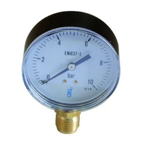 Water & air pressure gauge 0/10 bar ø80mm