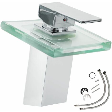Faucet glass rectangular waterfall tap with LED lighting - bathroom sink tap, faucet tap, bath and sink tap - grey - grau
