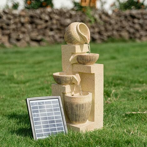 """main image of """"WATER FOUNTAIN FEATURE GARDEN SOLAR POWERED LED LIGHTS BOWLS CASCADING STATUES"""""""