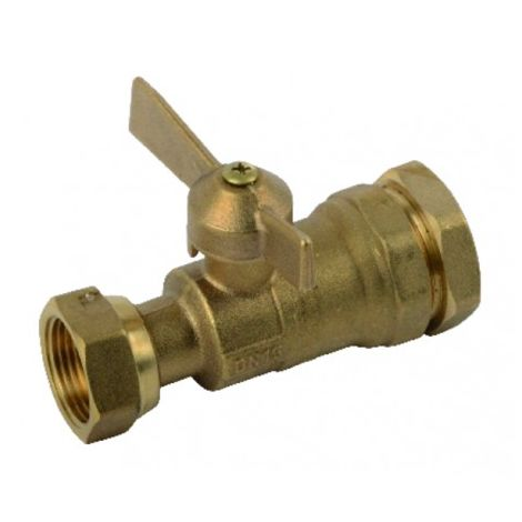 Water meter isolation ball valve straight for PE tube 3/4?