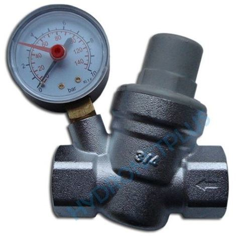 "Water Pressure Reducing Valve 3/4"" Female for 22mm Pipe with Gauge"