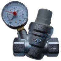 """Water Pressure Reducing Valve 3/4"""" Female for 22mm Pipe with Gauge"""