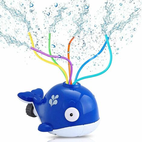 Water Sprinkler Toys, Whale Water Sprinkler for Kids, Sprinkler Kinder, Splash Play Toy, for Kids Summer Outdoor Play Outdoor Play, Spray Water Toy for Toddlers Boys Girls Pets (Blue)