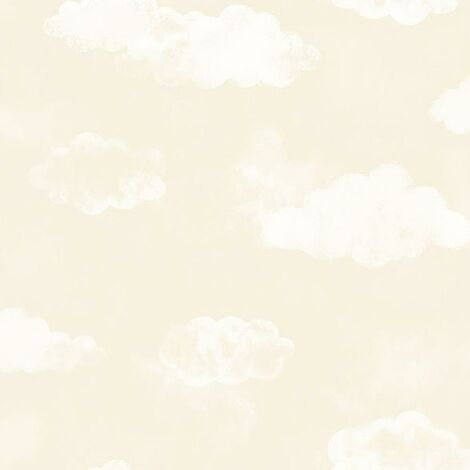 Watercolour Clouds Natural Wallpaper Beige White Nursery Baby Bedroom Textured