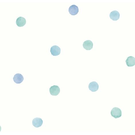 Watercolour Polka Dots Wallpaper Holden Kids White Teal Blue Spots