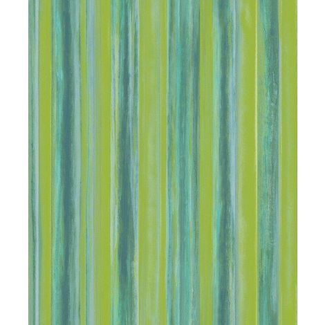 Watercolour Stripe Wallpaper Green Turquoise Glitter Shimmer Vinyl Paste Wall