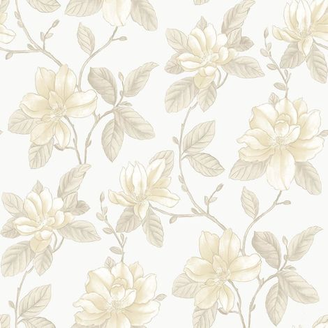 Watercolours Beige Cream Floral Wallpaper Metallic Mica Effect Flowers Galerie