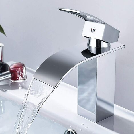 """main image of """"Waterfall Basin Faucet, Bathroom Faucet with Ceramic Coil Cold & Hot Water Available, Sink Mixer Bathroom Faucet Lead Free and Nickel Free"""""""