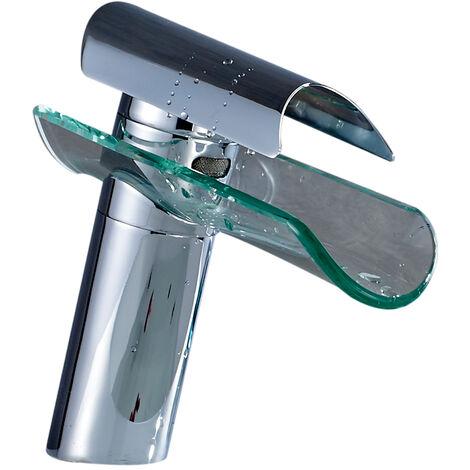 Waterfall Basin Taps Waterfall Bathroom Sink Mixer Taps Glass Spout Single Lever