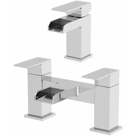 Waterfall Bathroom Basin Mono Mixer Tap Set Bath Tap Chrome