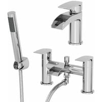 Waterfall Bathroom Basin Tap Bath Shower Mixer Tap Set Chrome