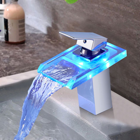 Waterfall Bathroom Faucet with RGB LED Single lever mixer in Brass and Glass, suitable for Washbasin and Bathroom