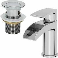 Waterfall Bathroom Mono Basin Mixer Tap Waste Modern Chrome