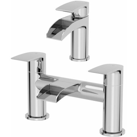 Waterfall Bathroom Mono Basin Sink Mixer Tap Modern Lever Handle Chrome